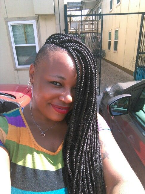 Box Braids With Shaved Sides With Images Single Braids