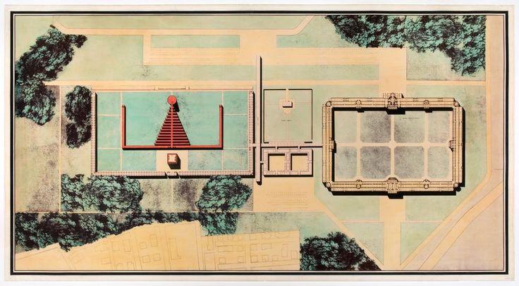 The Architecture of Death. Aldo Rossi. Cimitero di San Cataldo, Modena, Italy: site plan, between 1971 and 1978