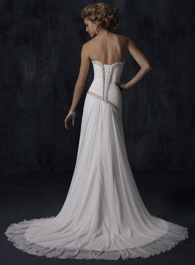 White Strapless Wedding Dresses Column Chapel Train