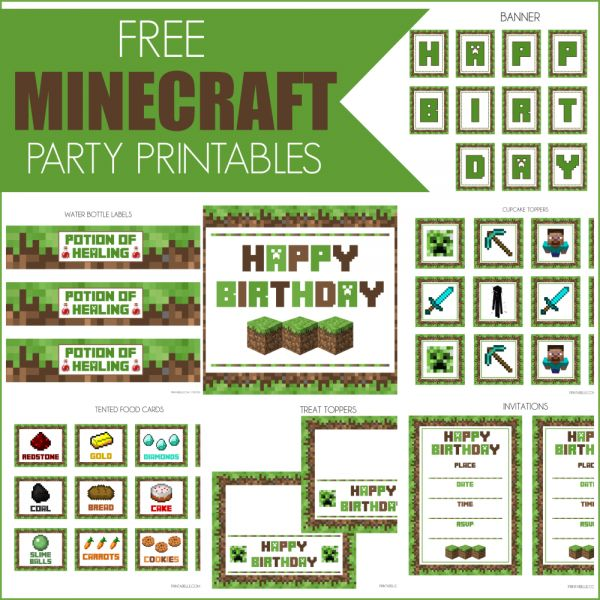 Free Minecraft Party Printables ~  Are your kiddos CRAZY about Minecraft? Then this birthday set is perfect! It includes: a welcome sign, invitations, cupcake toppers, banner, treat toppers, tented food cards, and water bottle labels.