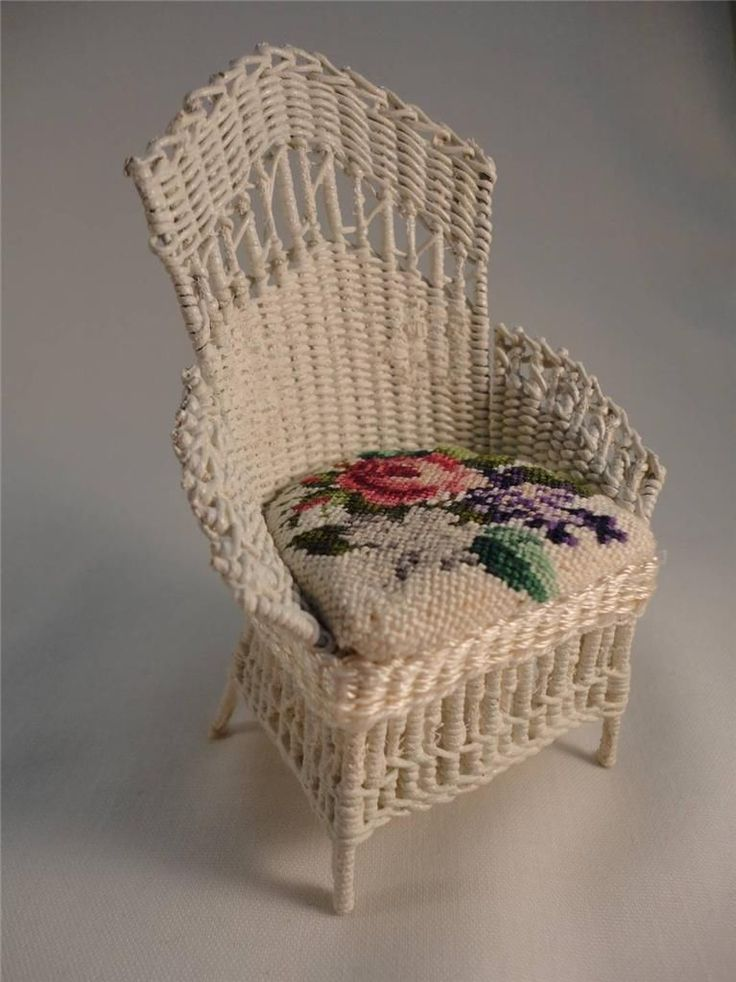 Wicker Chair Artisan Made Signed w Petit Point Cushion Miniature Vintage | eBay