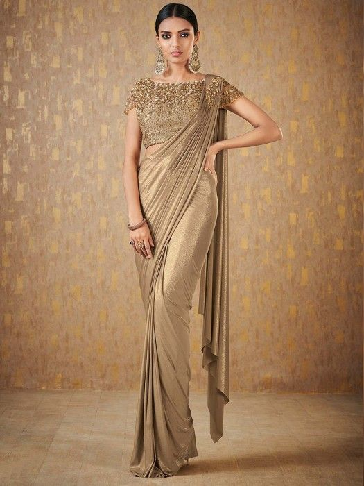 cb9101cd7a Beige Hue Shimmer Ready To Wear Saree, Latest Designer Party Wear Saree for  women, Designer party wear saree for women, women Party Wear saree, ...