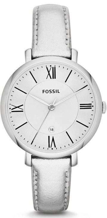 #Fossil #Watch , Jacqueline Three-Hand Leather Watch Metallic Silver ES3436