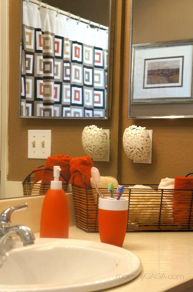 Orange bathroom decor - Black Cream And Orange Bathroom Decor