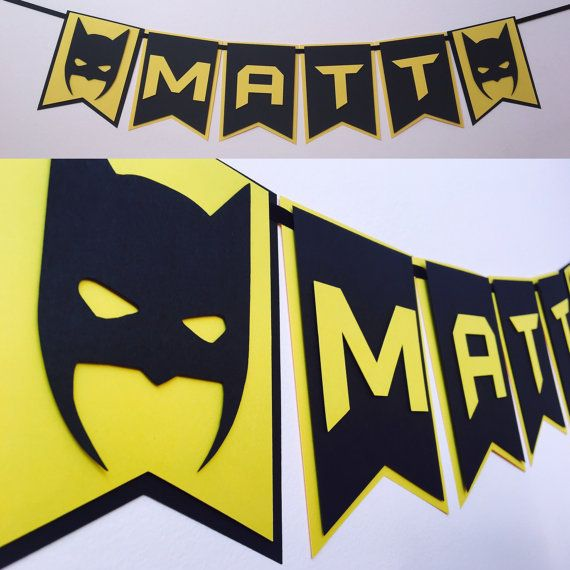 Personalized Batman Banner Batman Birthday by SassyPartyDecor                                                                                                                                                                                 More