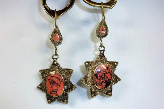 Tribal-Stern-Ohrringe rot-schwarz Rote von neemaheTribal auf Etsy