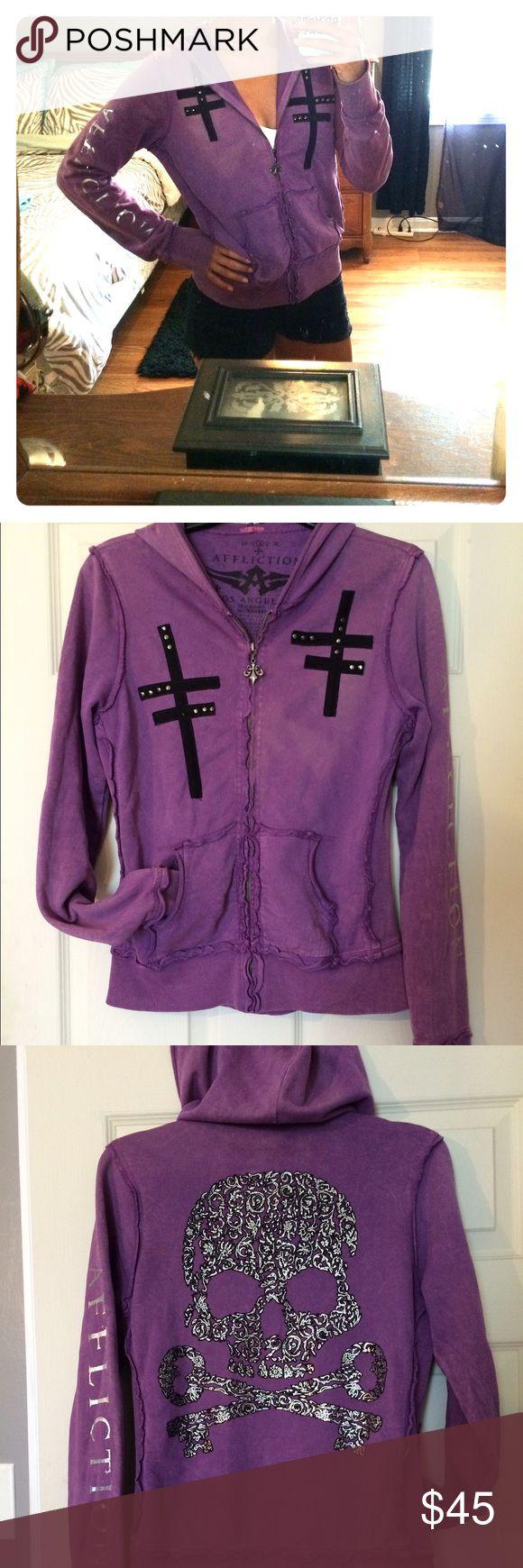 Affliction zip-up! Affliction purple zip-up hoodie! Size Medium. In great condtion! Affliction Tops Sweatshirts & Hoodies