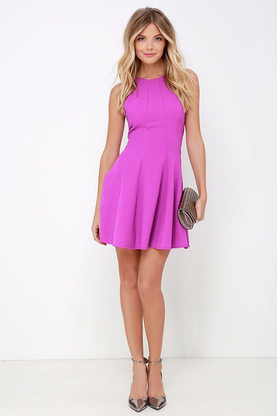 Flare Grounds Bright Purple Dress at Lulus.com!