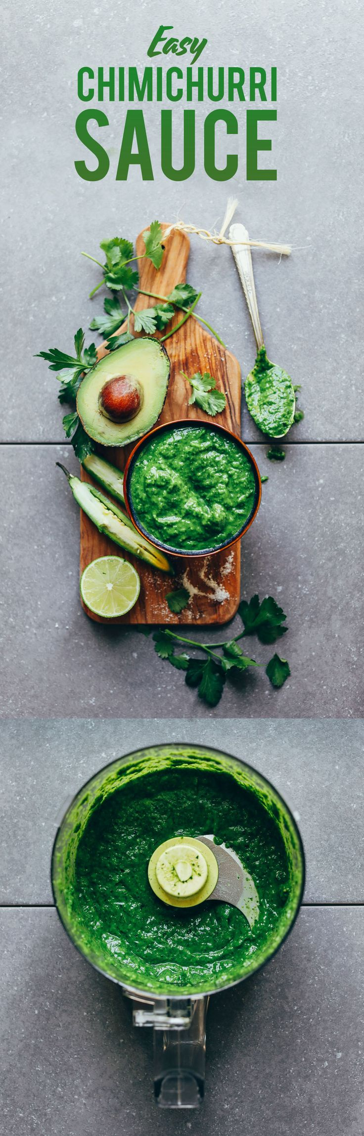 DELICIOUS Green Chimichurri in 10 minutes! The PERFECT dip or spread for any food! #vegan #glutenfree #chimichurri #recipe #minimalistbaker