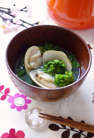 ひな祭りの定番♪ 菜の花とはまぐりの潮汁