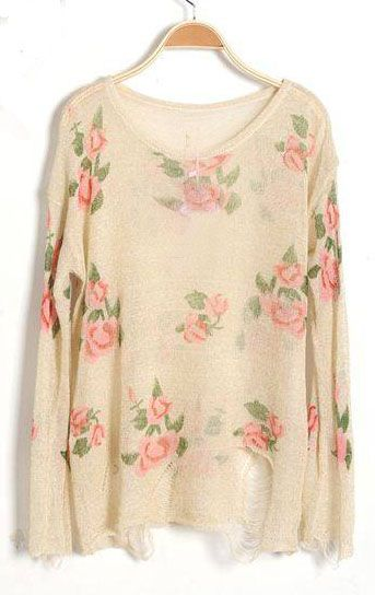 cute :): Ripped Distressed, Floral Sweater, Rose Flowers, Flower Prints, Long Sleeve, Prints Ripped, Distressed Long, Sleeve Jumpers, Beige Rose