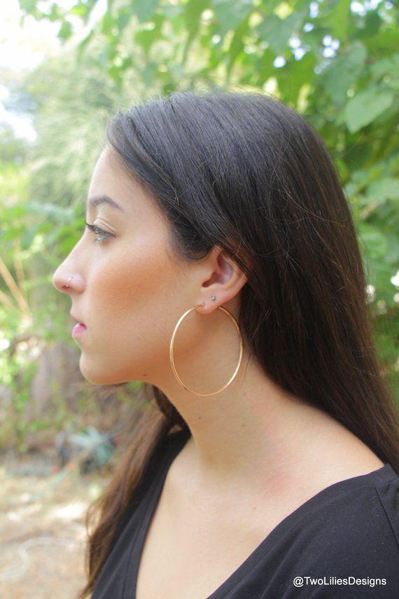 eb7ce7807 Large Hoop Earrings, 14K Rose Gold Hoops, 65mm 2.6