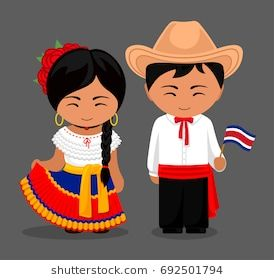 Costa Ricans In National Dress With A Flag Man And Woman