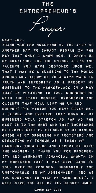 Entrepreneur's Prayer