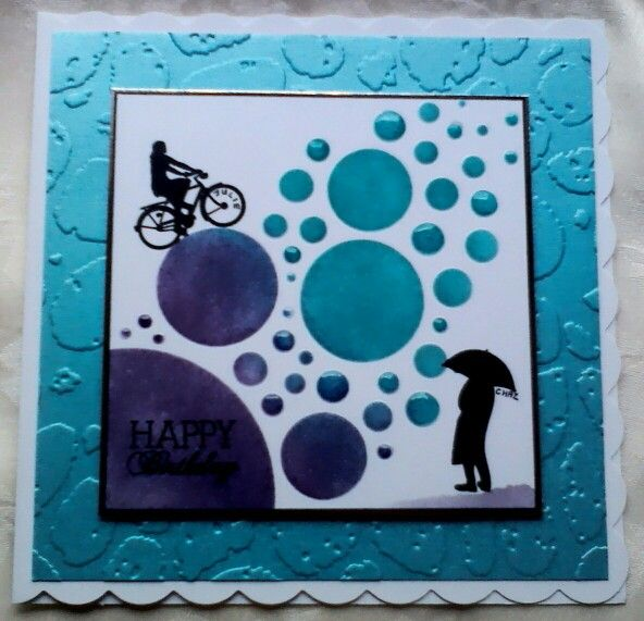 Clarity Stamps Wee Folk stamps & bubbles stencil with Crafter's Companion pebbles textured embossing folder. Made by Lynne Lee.