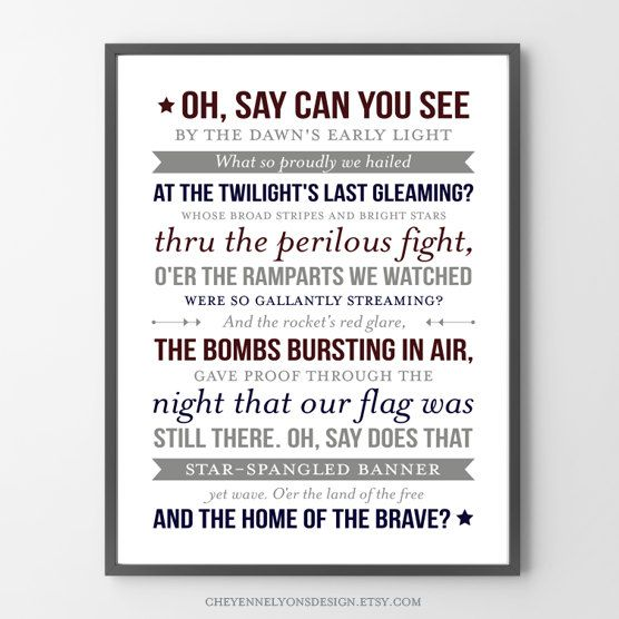 National Anthem, Printable, July 4th Decor, Print