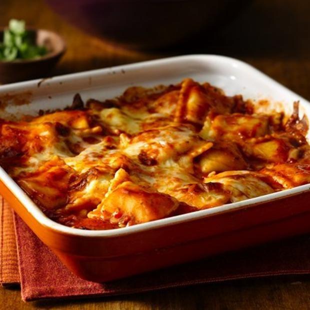 Fire Roasted Tomato Ravioli Bake Recipe  with 5 ingredients