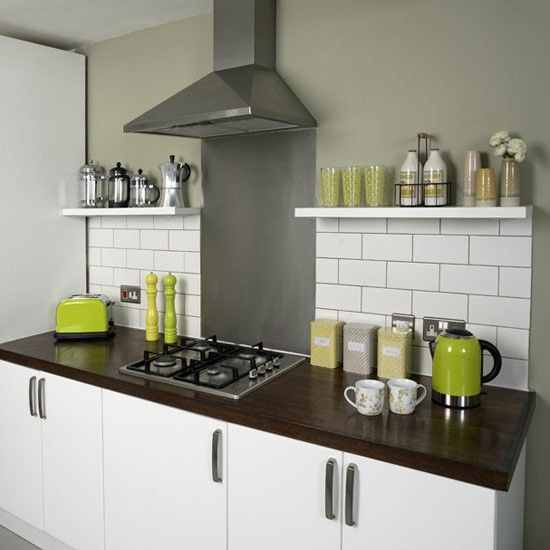 Metro-style kitchen tiles | Contemporary kitchen ideas | Kitchen | PHOTO GALLERY | Style at Home | Housetohome.co.uk re grout the tiles a colour to match the walls