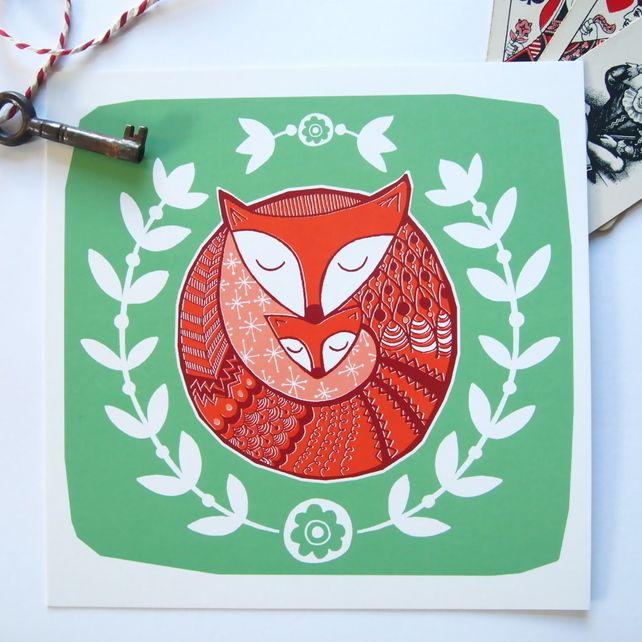 Winter Foxes Card - birthday congratulations wedding engagement baby card, by CecilyMae Handmade on Folksy, £2.25