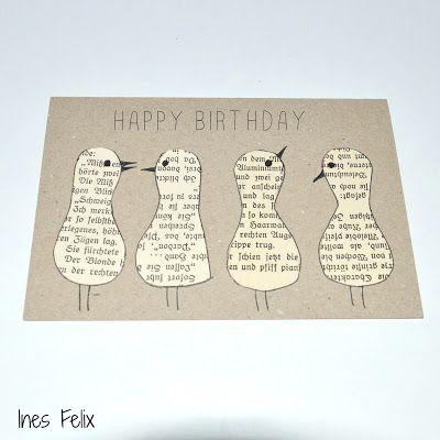 selber, machen, basteln, diy, ideen, anleitung, selbermachen, Ines Felix, Karte, Geburtstag, Vögel, Papier