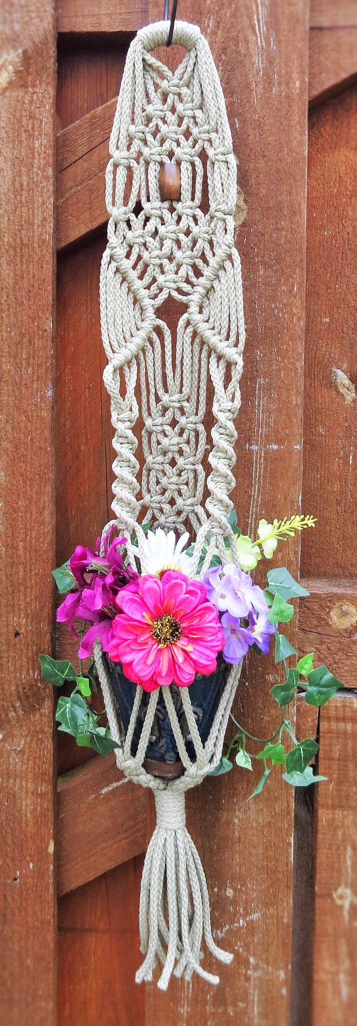 Plant Hanger Macrame Small Gray Pot Holder Short Hanging