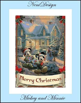 Mickey and Minnie Merry Christmas  cross stitch by NeniDesign