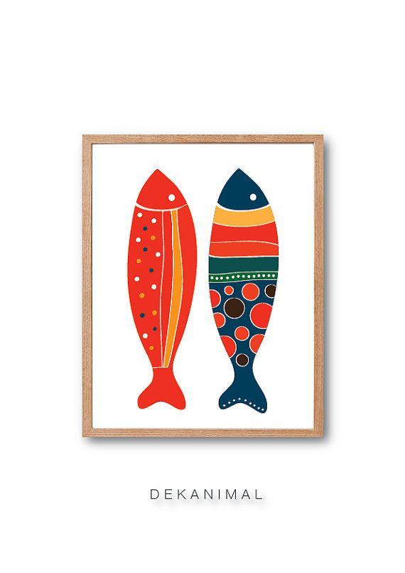 Kids Room decor Fish Art Print  Red & Navy  Kitchen by dekanimal