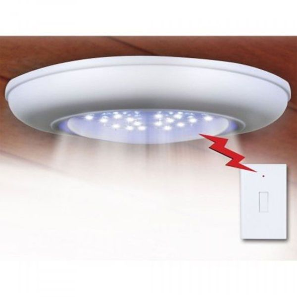 Battery-Operated Cordless Wireless Ceiling/Wall/Closet/Hall Light+Remote  Control