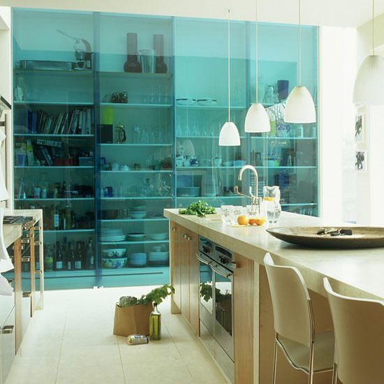 Translucent blue sliding door - loving this for my next space....: Dining Rooms, Kitchens Shelves, Glasses Panels, Rooms Ideas, Modern Kitchens, Glasses Doors, Glasses Sliding, Colors Glasses, Sliding Doors