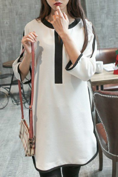 Brief Style 3/4 Sleeve V-Neck Black and White Spliced Dress For Women