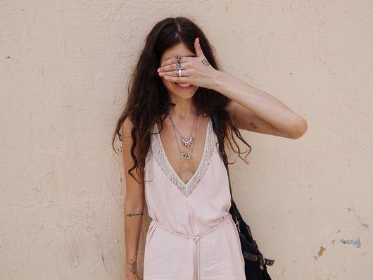 Pamela Love jewels on PamelaDeep V Neck Playsuits, Summer Dresses, Pamela Love, Style, Small Tat, Pale Pink, Tiny Tattoo, Random Tattoo, Little Tattoo