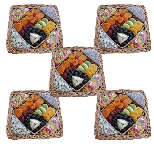 Crafted Kosher Premium Dried Fruit, Nuts, Jelly Belly's, and Hamentash Mishloach Manos on an exquisite square wicker tray. Kosher Star-K