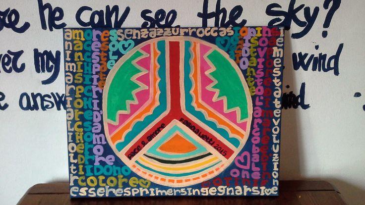 Pace e Amore con le mani sporche di colore. Contemporary  art. Lietti Fabiola.