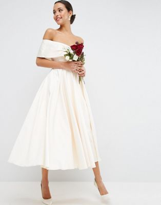 ASOS BRIDAL Off The Shoulder Bonded Sateen Debutante Dress