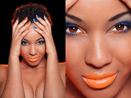African American Makeup- Orange lipstick and eyeliner.