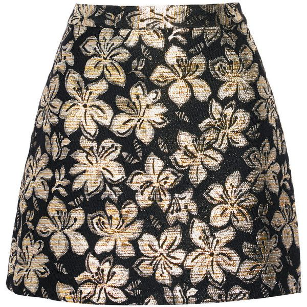 Alice + Olivia Riley metallic jacquard mini skirt (410.675 COP) ❤ liked on Polyvore featuring skirts, mini skirts, bottoms, metallic, mini skirt, short floral skirt, floral print mini skirt, short black mini skirt and short mini skirts