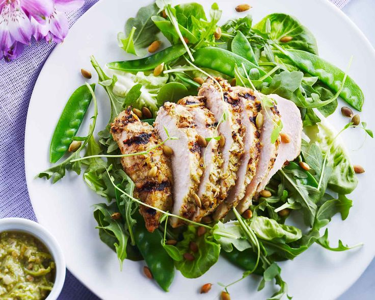 Green Garlic Grilled Chicken with Pea Shoots & Greens