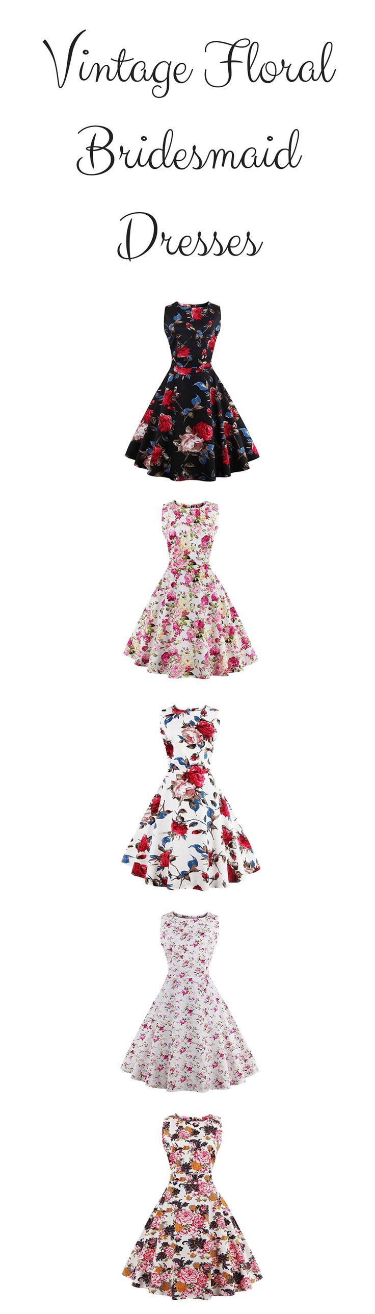 Cute vintage floral bridesmaid dresses with floral design and print - distribution_PO Womens Sleeveless Floral Bohemian 1950s Vintage Dresses Size S-4XL - https://www.amazon.com/distribution_PO-Sleeveless-Bohemian-Vintage-Dresses/dp/B0758HRXNJ/ref=as_li_ss_tl?_encoding=UTF8&refRID=3VZ8FQYRM29HDKXE28EM&th=1&linkCode=ll1&tag=theweddingclu-20&linkId=a9dc94c8e68afcdba0ca4a2844e369b6