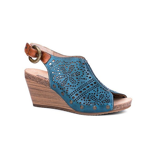 Pikolinos Benissa 9342 ($165) ❤ liked on Polyvore featuring shoes, sandals, petrol, women, ankle wrap sandals, platform wedge sandals, wooden wedge sandals, platform wedge shoes и cut out wedge sandals