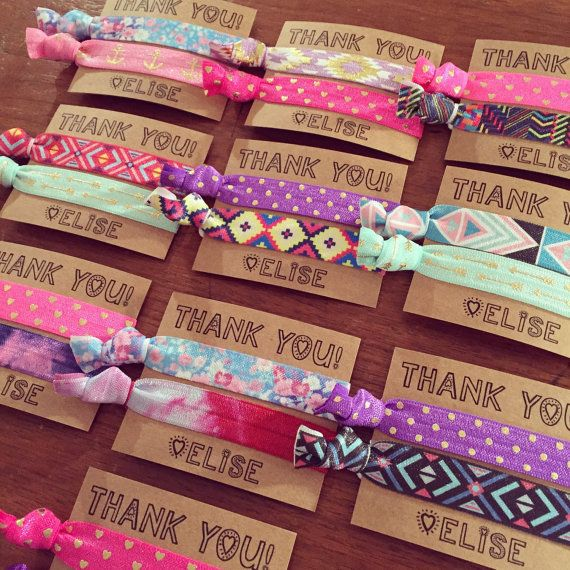 Our custom hair tie favors are a MUST for birthdays. Be the cool mom. Your daughter will love you forever, I promise. We can customize the cards and hair ties to fit ANY party theme, just leave the following info in the note section during checkout!  1. Birthday Girls Name + Age 2. Event Date/Date Needed 3. Party Theme and Color Scheme 4. Card Text 5. Hair Tie Preferences: We will make up an assortment based on your preferences, color scheme and theme. This listing includes a mix of tie dye…