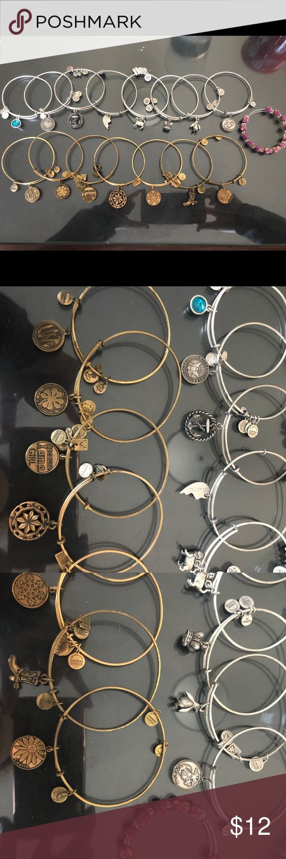 Alex & Anis $12 for one, cheaper price for bundling.  Silver ones: December birth stone, navy, anchor, half of best friend, cat, crown, penguin, marines, gold and purple beads Gold: love, four leaf clover, because I am a girl, compass, snowflake, cowboy boot, cousin LET ME KNOW which one you'd like so I can make a separate listing for you, or buy this listing and then let me know which one. If you would like more than one, do not buy this listing because it will be more than the $12.00…
