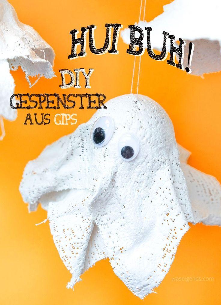 Hui buh! DIY Gespenster aus Gips und Tischtennisbällen basteln | DIY Geister basteln | Halloween Deko selber machen | waseigenes.com DIY Blog
