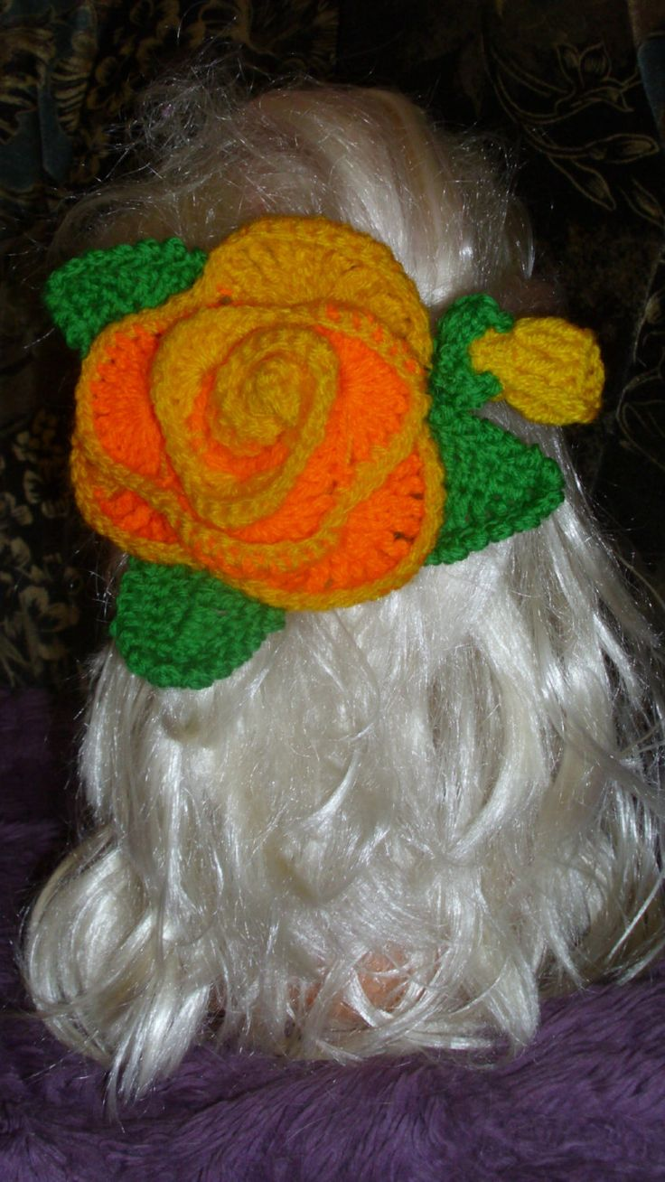 Hand Crocheted Big Flower Hair Clip,Hair accessories by RomanticHandmade on Etsy