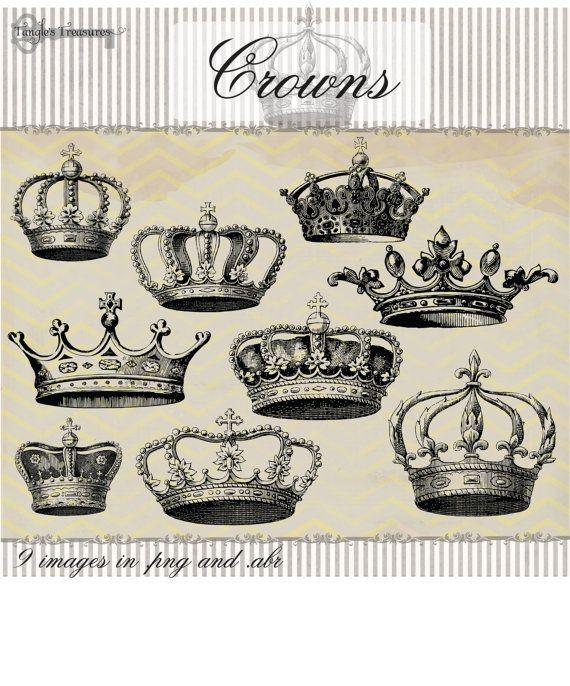 Sofortiger Download – 30 Vintage Crowns Megapack, digitale ClipArt- und Photoshop-Pinsel: Kommerzieller und persönlicher Gebrauch – Tattoos