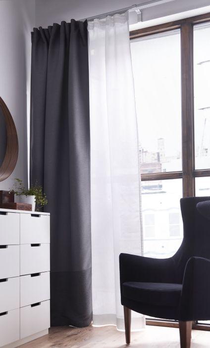 Dois tipos de cortinados fazem um tipo de privacidade e estilo: total.