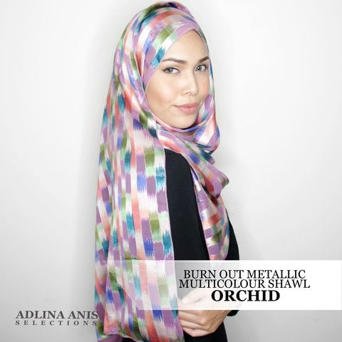 BURN OUT METALLIC FINISH MULTICOLOUR SHAWL - ORCHID  $48.50 SGD  Material: Satin weave   Length: 200cm  Width: 66.5cm     Fabric Care: Dryclean or Hand wash only and do not wring.   Iron only on the wrong side, on medium setting.  You'll find only the best hijabs / tudungs / scarves that are shipped worldwide.  Click through to the website to find out more.