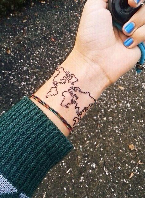 Explore // wrist world map tattoo