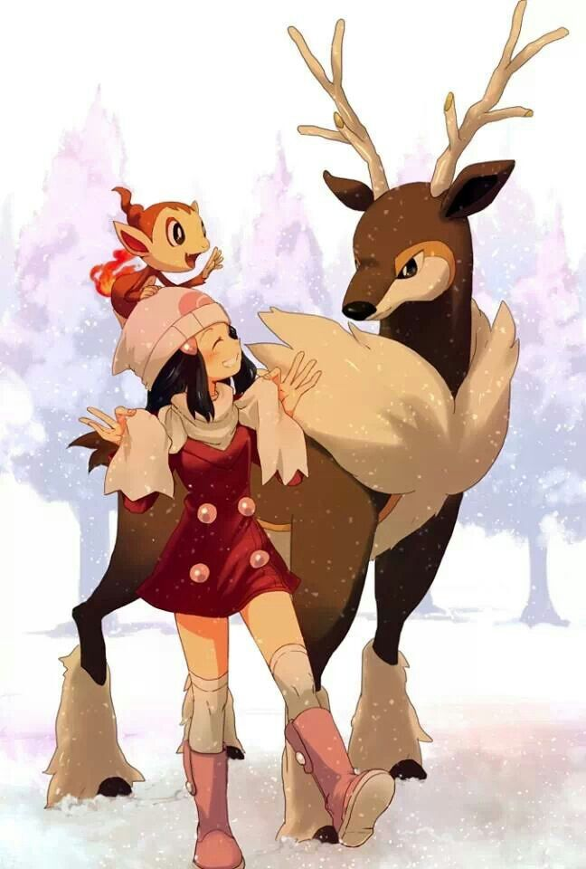 Dawn  & #Pokemon number 586 sawsbuck & chimchar number 390