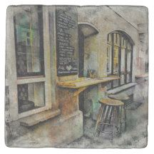 Cafe Stools Marble Stone Coaster $9.95