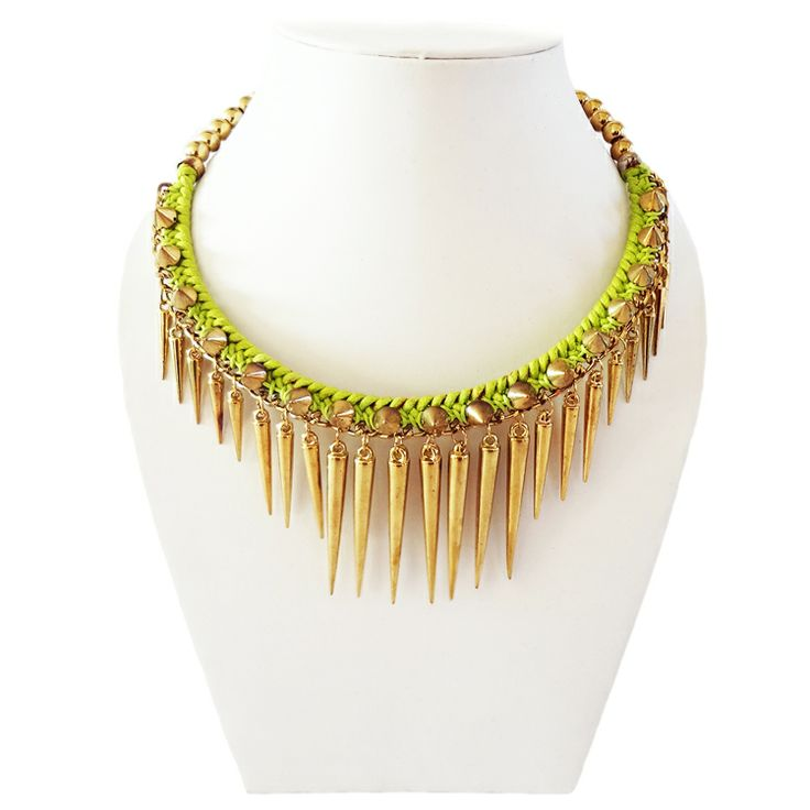 Gorgeous necklace with brass spikes by Chobhi